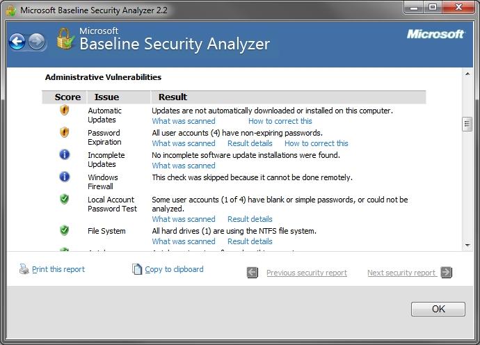 microsoft baseline security analyzer review