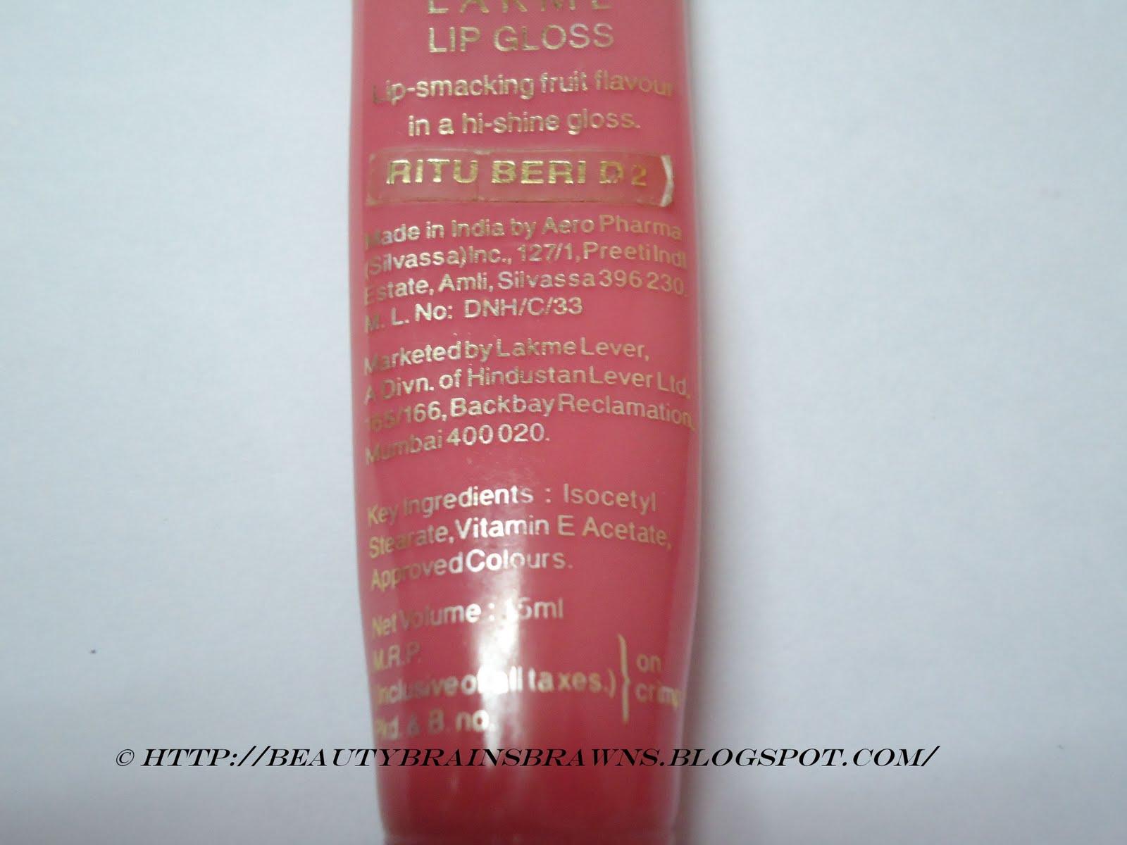 lakme lip gloss bubblegum review